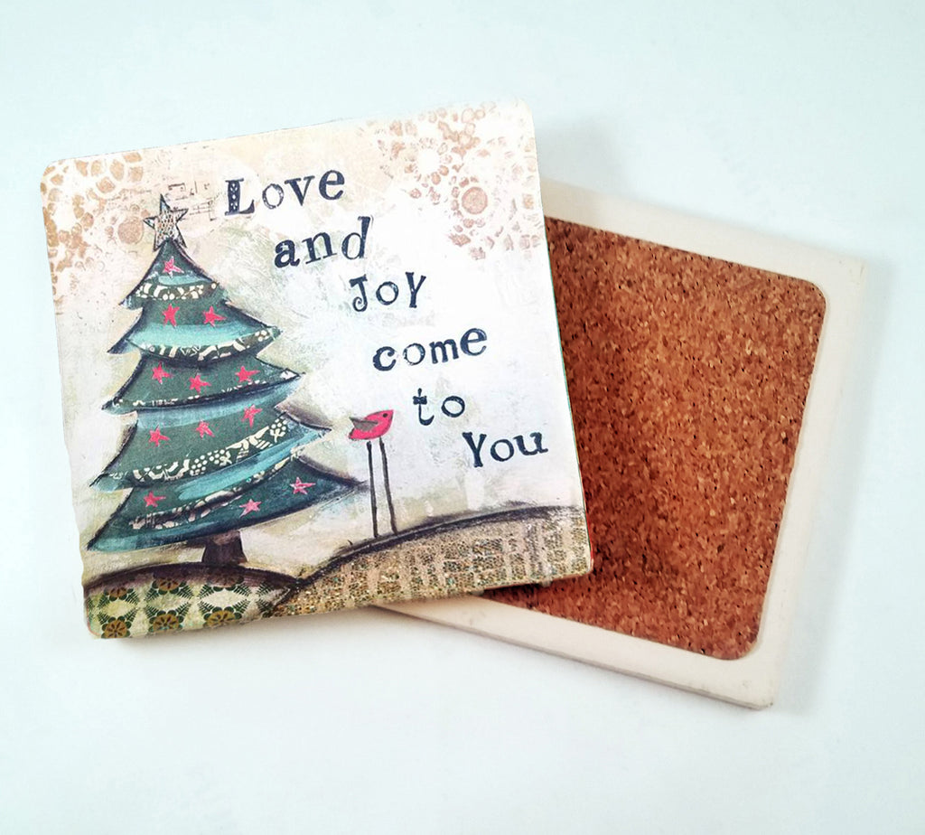 Love and Joy...Absorbant Stone Coaster