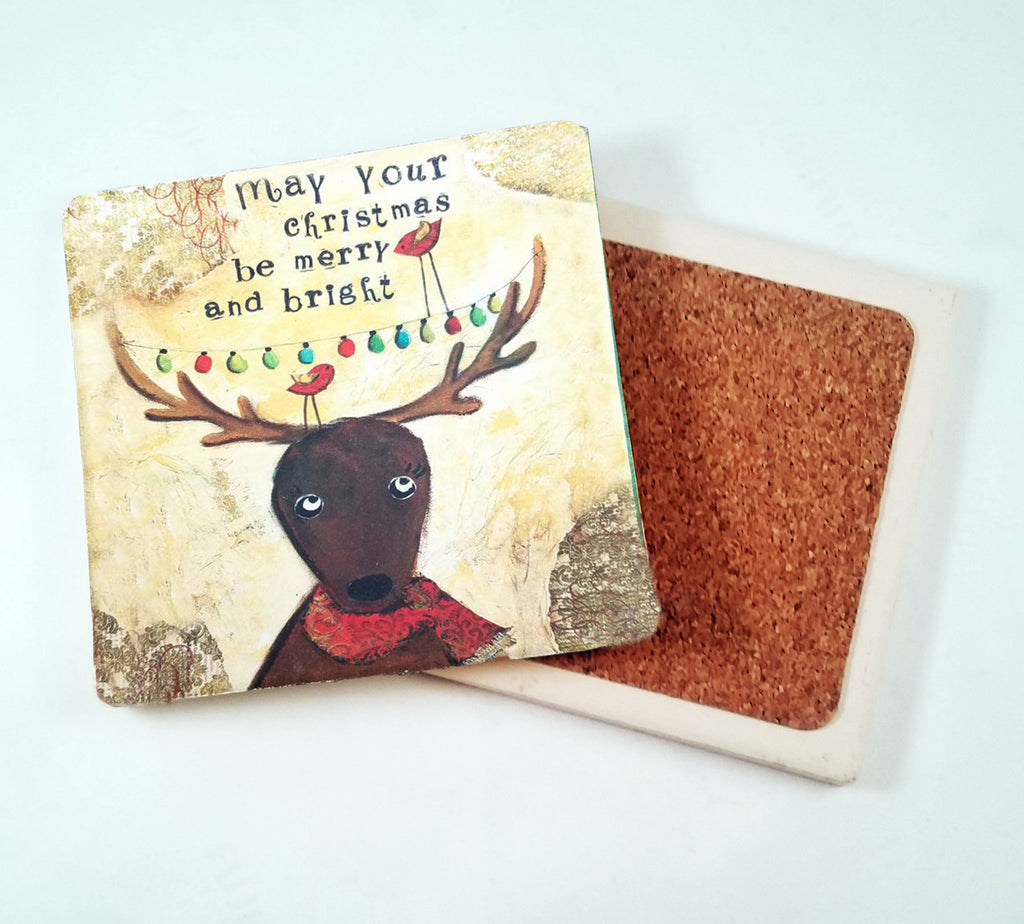 May Your Christmas Be Merry and Bright...Absorbant Stone Coaster