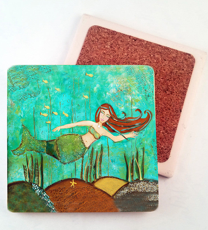 Mermaid.. absorbant stone coaster