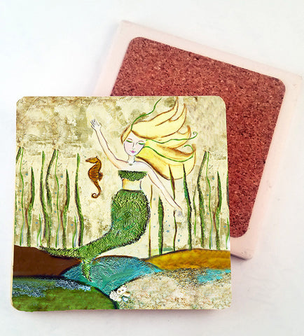 Mermaid with Seahorse.. absorbant stone coaster