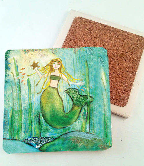 Mermaid with Starfish.. absorbant stone coaster