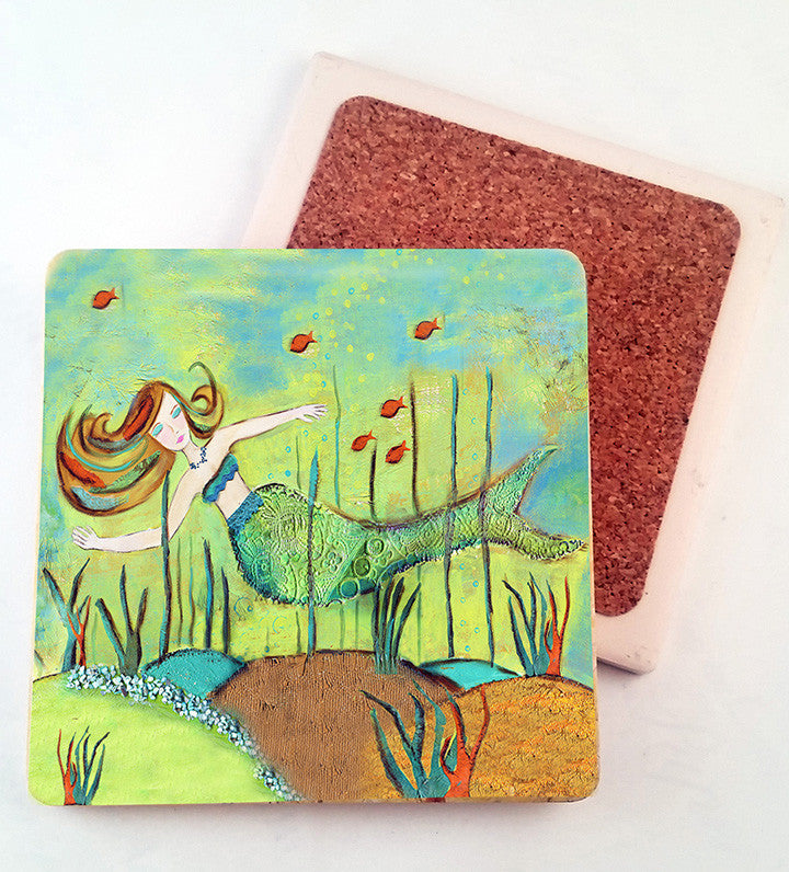 Mermaid in Coral. absorbant stone coaster