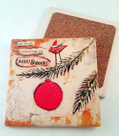 Merry and Bright.... absorbant stone coaster