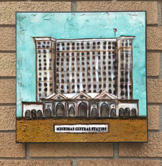 Michigan Central Station....wood block print
