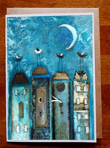 Midnight Village....5 x 7. Greeting Card