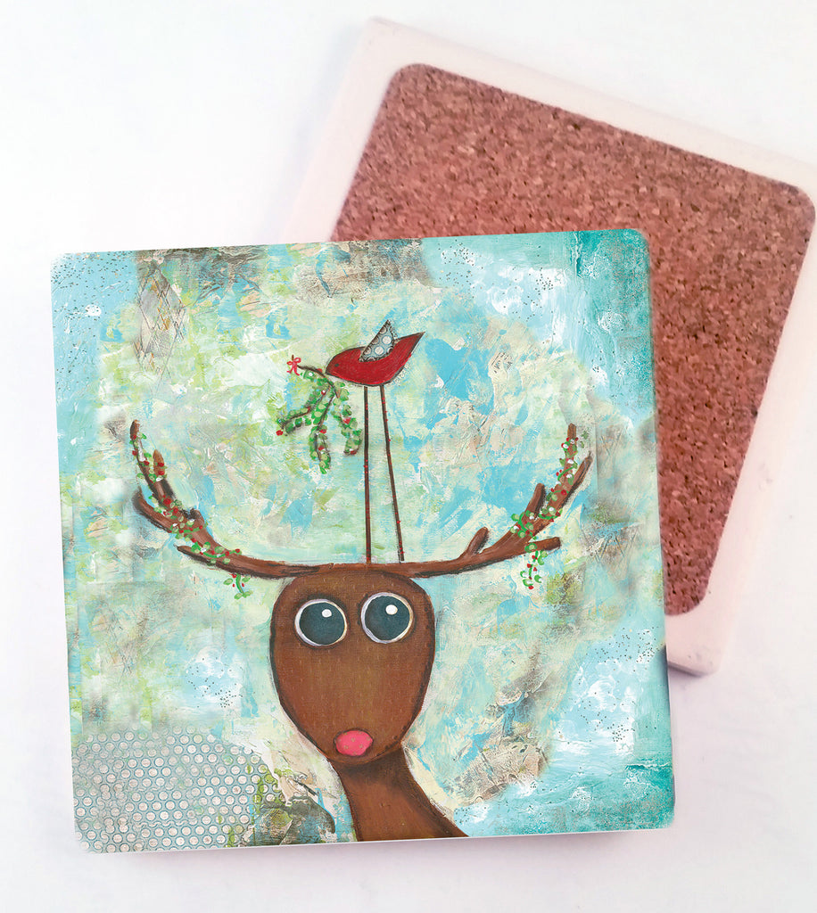Mistletoe... absorbant stone coaster