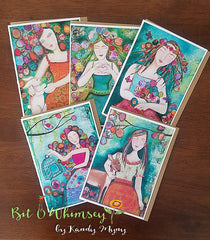 "Female figures...Greeting Card Set, Set of 5 Cards 5"" x 7"""