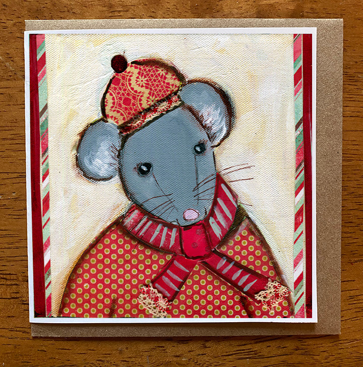 Christmas Mouse  5 x 5 card with envelope