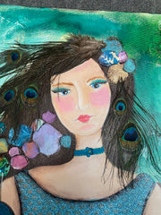 Girl with Peacock..24 x 36 Original painting