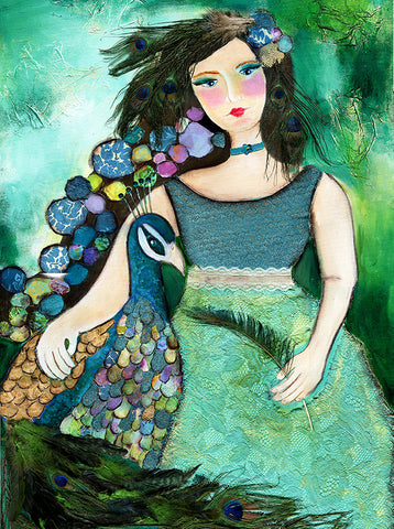 Girl with Peacock
