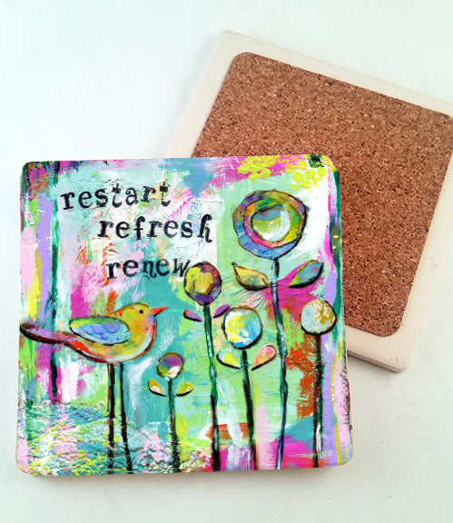 Restart, Refresh, Renew... absorbant stone coaster