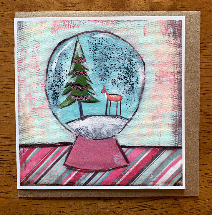 Snowglobe   5 x 5 card with envelope
