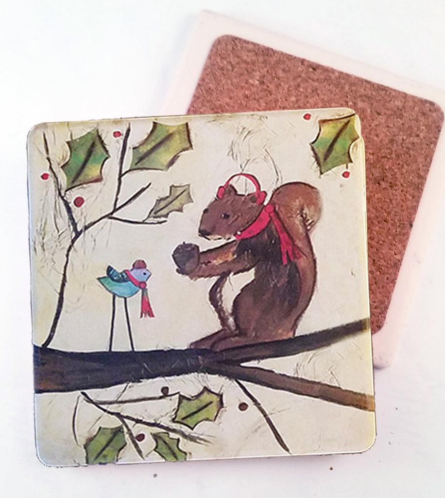 Squirrel..Absorbant Stone Coaster