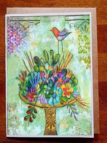 Succulent Bird Bath ..... 5 x 7 Greeting Card