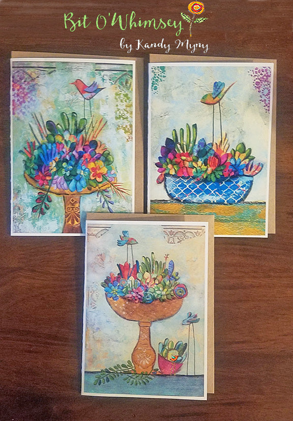 "Succulant Garden..Greeting Card Set, Set of 3 Cards 5"" x 7"""