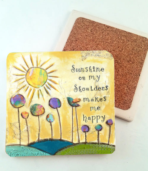 Sunshine on my Shoulders. absorbant stone coaster