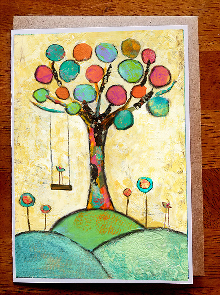 Swing in the Spring...5 x 7  Greeting Card