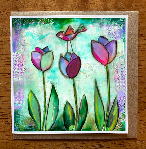 Tulips are Blooming.. 5 x 5 greeting card