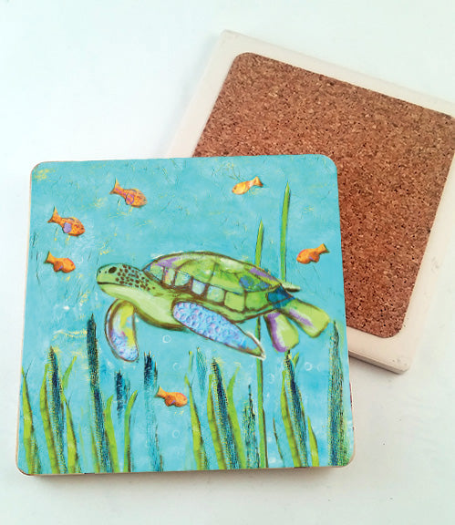 Sea Turtle.. absorbant stone coaster