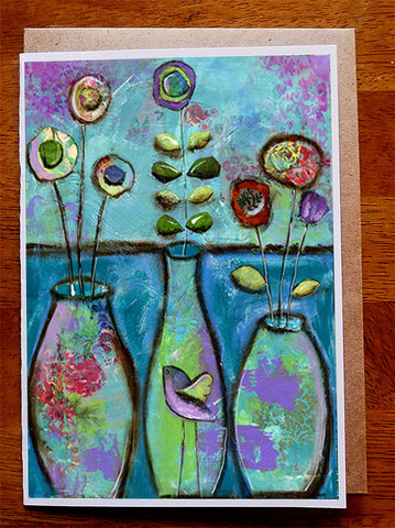 Three Vases by the Sea...... Greeting Card