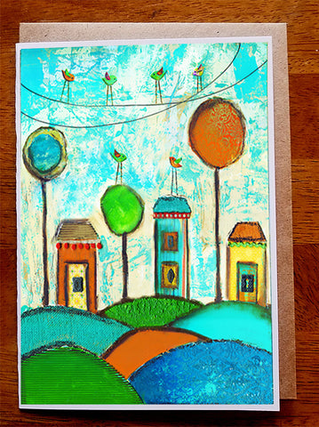 Whimsical Village...5 x 7  Greeting Card