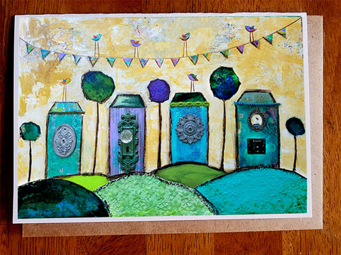Whimsical village....5 x 7. Greeting Card