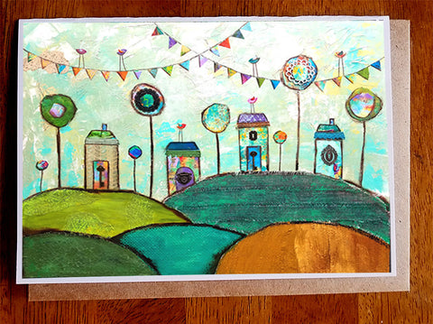 Village of Whimsey....5 x 7. Greeting Card
