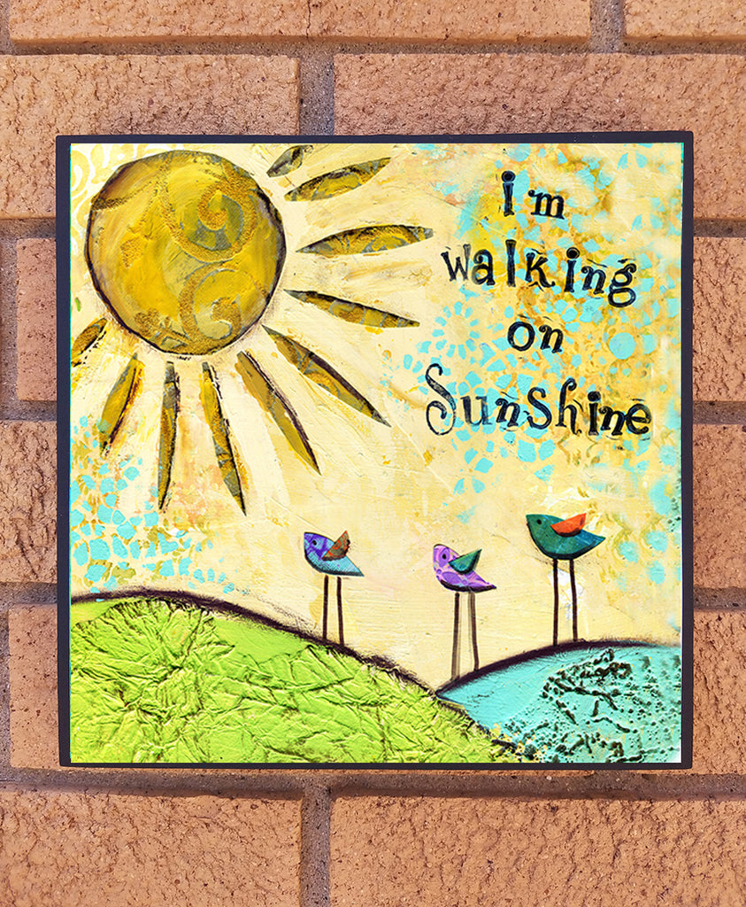Walking on Sunshine.. wood block print