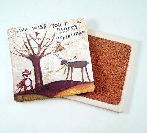 We Wish You A Merry Christmas...Absorbant Stone Coaster