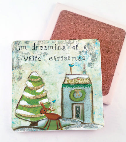White Christmas. absorbant stone coaster