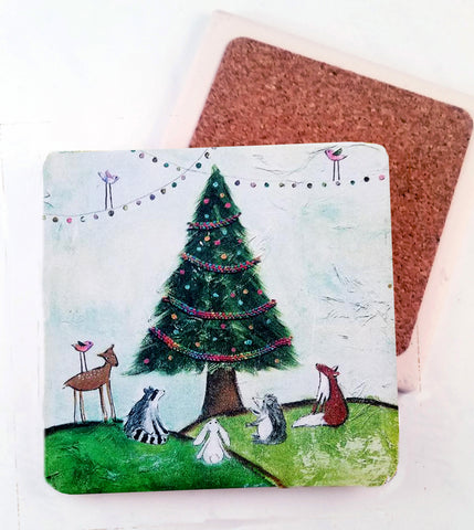 Woodland creatures Christmas...Absorbant Stone Coaster