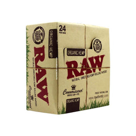 Raw Organic Hemp Connoisseur King Size Slim + Tips 24 per Box - Smoker's World of Hollywood