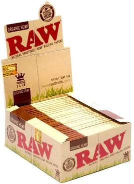 Raw Organic Hemp King Size Slim Rolling Paper Full - Box Of 50 Packs - Smoker's World of Hollywood