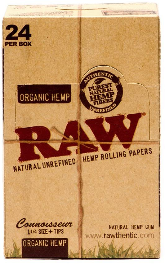 Raw Organic Hemp Connoisseur 1 1/4 + Tips 24 per Box - Smoker's World of Hollywood
