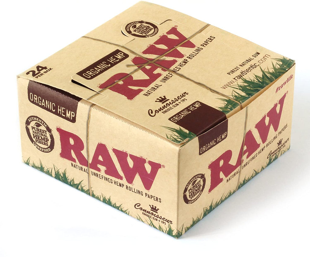 Raw Organic Hemp 1.25 1 1/4 Size Rolling Papers Full - Box of 24 Packs - Smoker's World of Hollywood