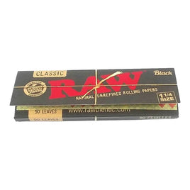 Raw Black 1.25 1 1/4 Size Rolling Papers Full - Box of 24 Pack - Smoker's World of Hollywood