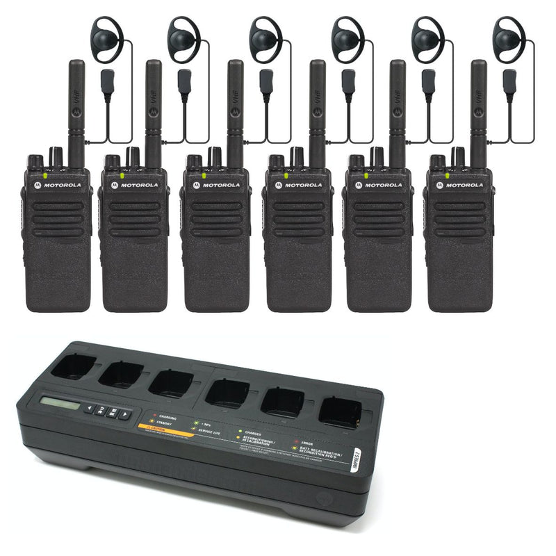 Motorola DP2400e - SIX PACK including charger & earpieces