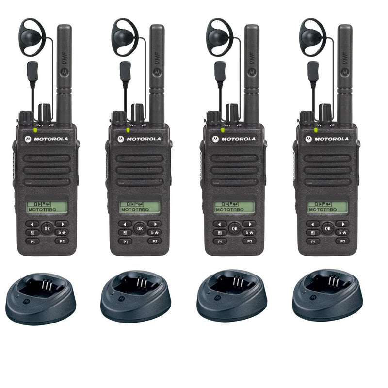 Motorola DP2600e - QUAD PACK including chargers & earpieces