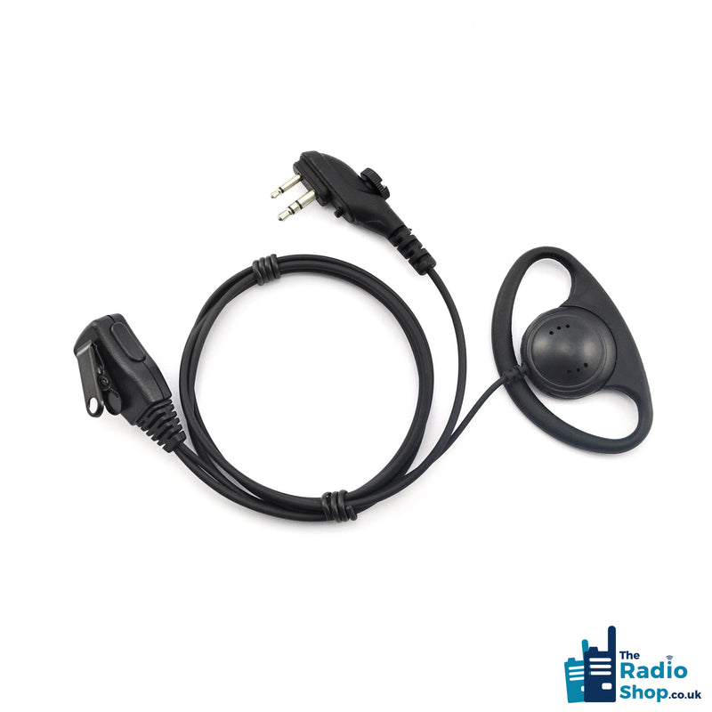 Value Range 2-wire D-Shell earpiece with Mic & PTT (for PD4 & PD5 Series)