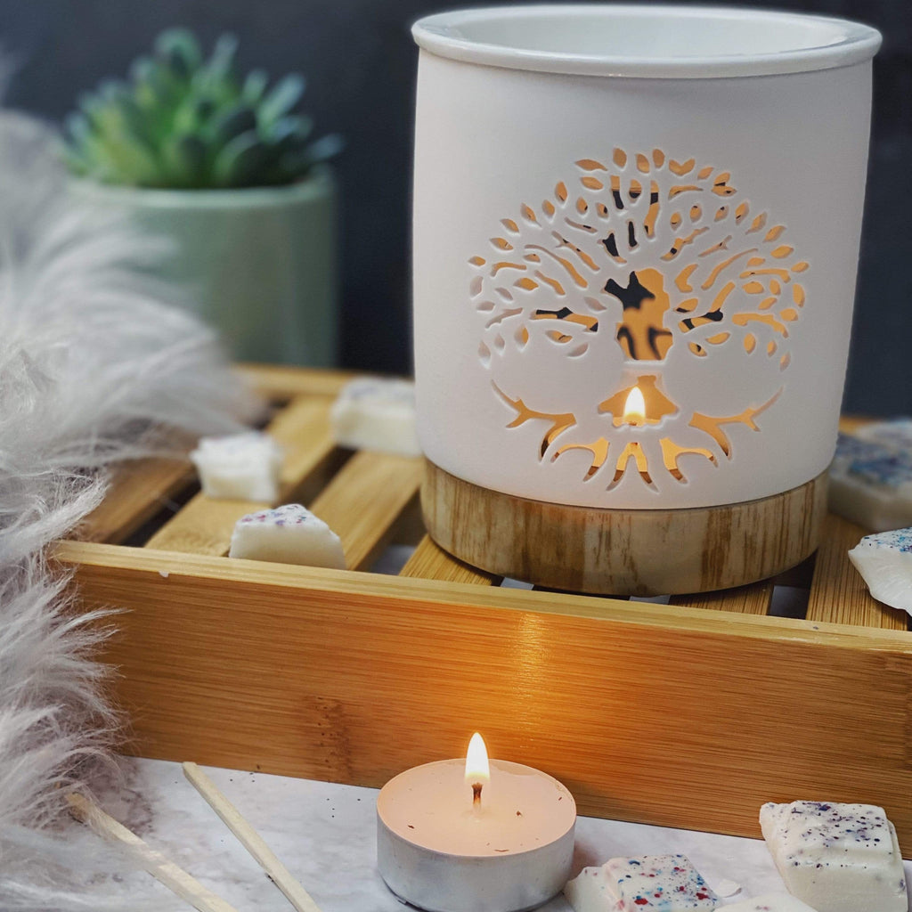 Devon Wick Candle Co. Limited Tree Of Life Matte Ceramic Melter With Wood Effect Base
