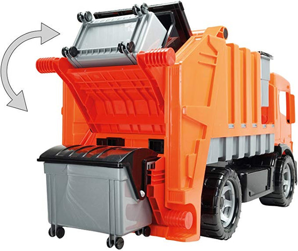 Lena Powerful and Giant Orange Garbage Truck Toys for Kids, Manually Operated and Easy Dumping