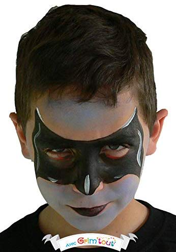 Super Hero Face Painting kit or Body Paint 4 Colors Stencils, Sponge + Brush Safe FDA by Grim Tout