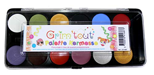 Professional Quality Face Paint Palete 12 Colors Incl. Metalic Gold & Silver & 1 Brush by Grim Tout