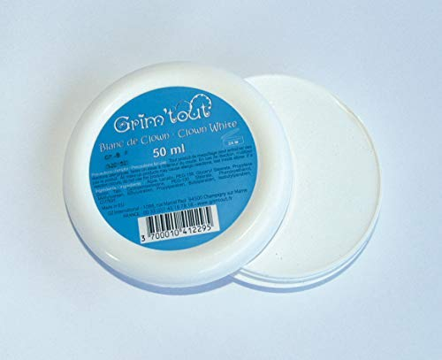 Professional Quality Clown White Face and Body Paint, 50ml Cake Pot by Grim Tout