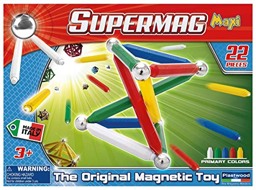 Supermag Maxi Magnetic Building Set with Rods / Balls for 2D 3D Building with Rods in 2 Sizes 22 Pcs