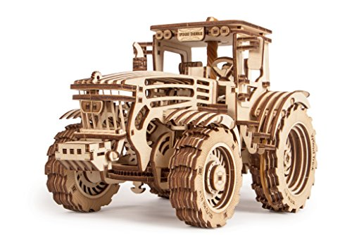 John Deere Tractor Wooden 3D Puzzle With Rubber Band Motor & 2 Speeds by Wood Tricks