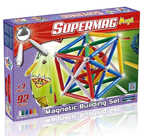 Supermag Maxi Magnetic Building Set with Rods / Balls for 2D 3D Building with Rods in 2 Sizes 92 Pcs