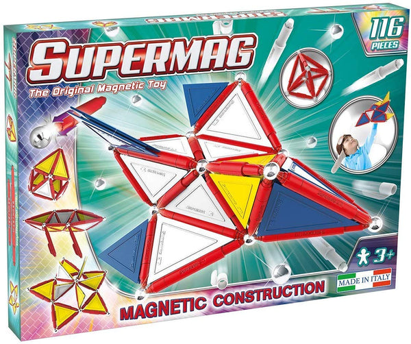 Supermag 3D Magnetic Tiles Advanced Magnetic Building Blocks Rod and Ball Magnetic 116 Piece Set