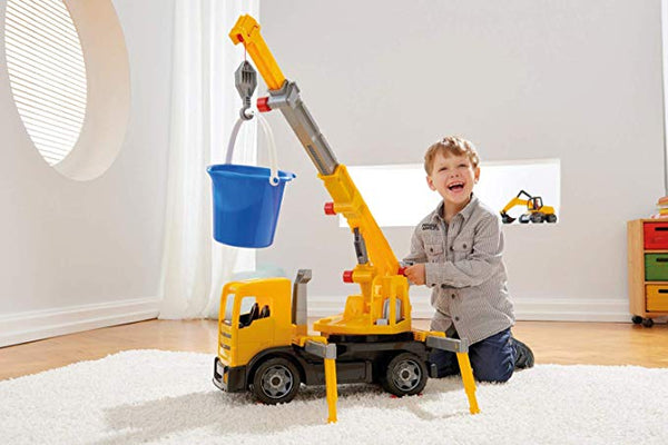 LENA Powerful Giants Toy Crane Truck with 360° rotating and 3 ft extendable boom in Yellow / Black