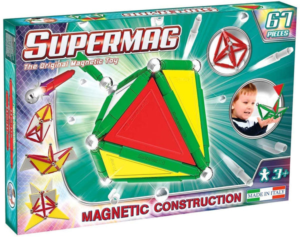 Supermag 3D Magnetic Tiles Advanced Magnetic Building Blocks Rod and Ball Magnetic Sets 67 Piece Set